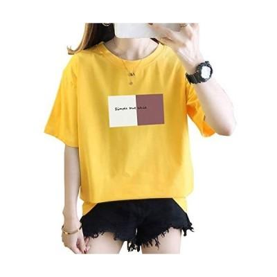 Semo1mus Tシャツ レディース トップス カットソー 丸ネック 半袖 綿100% 夏 ゆったリ イエロー M