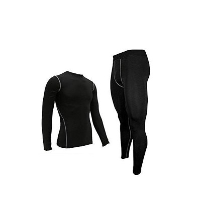 LANBAOSI メンズ スポーツウェア 上下セットランニング コンプレッションウェア 吸汗速乾 UVカット パワーストレッチ トレーニング
