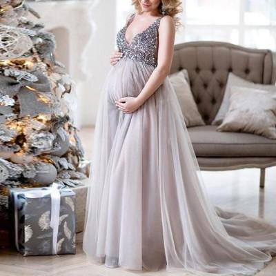 マタニティドレス Vネック スパンコール 妊娠 結婚式 写真撮影 フォト