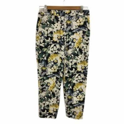 【中古】アダムエロペ for AUTHENTIC CLOTHES パンツ テーパード クロップド 花柄 マルチカラー 36 黒 白