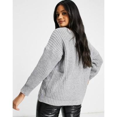 パリジャン レディース ニット&セーター アウター Parisian knot front sweater in gray Light gray