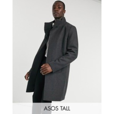 エイソス メンズ コート アウター ASOS DESIGN Tall wool mix coat with funnel neck in charcoal Charcoal