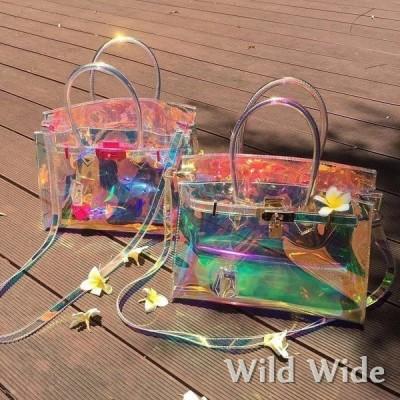 透明バッグ ビニールバッグ スケルトン ショルダーバッグ クリアバッグ オーロラバッグ ハンドバッグ PVC 防水 インナーポーチ