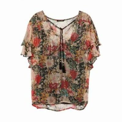 ラブ サム ブラウス・シャツ Casella floral-print metallic georgette blouse Brass
