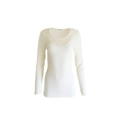 EGI Exclusive Collections Merino Wool Blend Tulle Trim Top with Long Sleeve