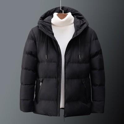 ダウンジャケットメンズ中綿ジャケットキルティングジャケット無地フード付き防寒防風秋冬