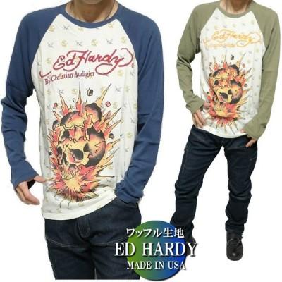 エドハーディー ed hardy Tシャツ ロンT メンズ ラグラン/ワッフル生地 スカル 長袖 クリスチャンオードジュー