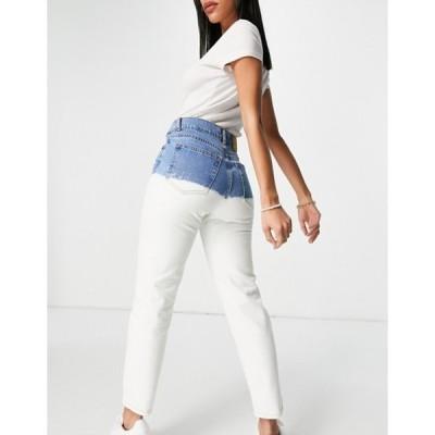 プルアンドベアー レディース デニムパンツ ボトムス Pull&Bear tie dye straight leg jeans in white