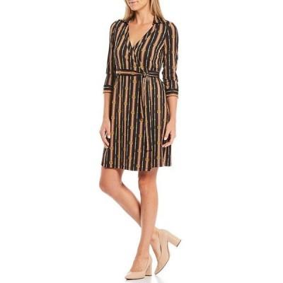 ジュリーブラウン レディース ワンピース トップス Printed Stripe V-Neck 3/4 Sleeve Wrap Dress