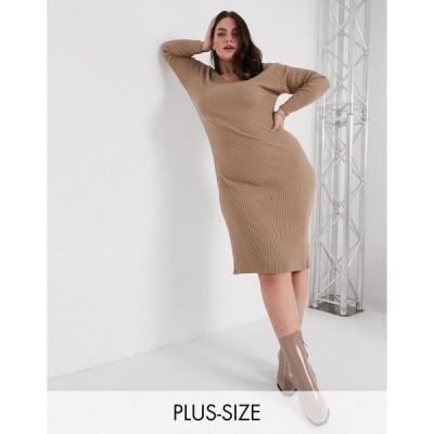 イン ザ スタイル プラス レディース ワンピース トップス In The Style Plus x Billie Faiers plunge front knit midi dress in mocha Mocha