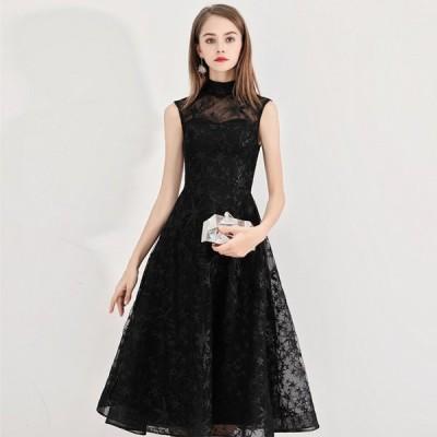黒 ドレス イブニングドレス ミモレ丈 ノースリーブ 二次会 お呼ばれ パーティードレス Aライン 30代 40代 発表会ドレス 演奏会
