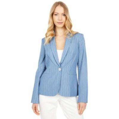 トミー ヒルフィガー レディース コート アウター One-Button Stripe Jacket French Blue/Ivory