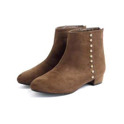 SOROTTO / 【masyugirl(マシュガール)】【3E/幅広ゆったり・大きいサイズの靴 ゴールドスタッズ付きアーモンドトゥブーツ】 WOMEN シューズ > ブーツ