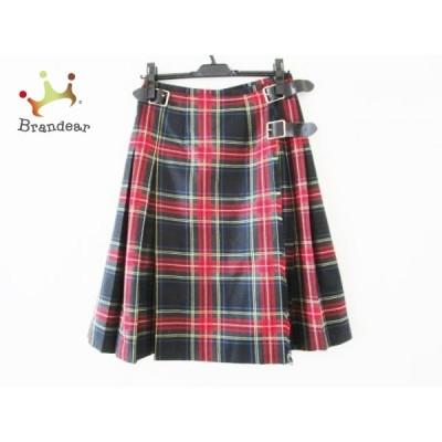 オニール O'NEIL 巻きスカート サイズ42(I) M レディース 美品 黒×レッド×マルチ チェック柄 新着 20210125