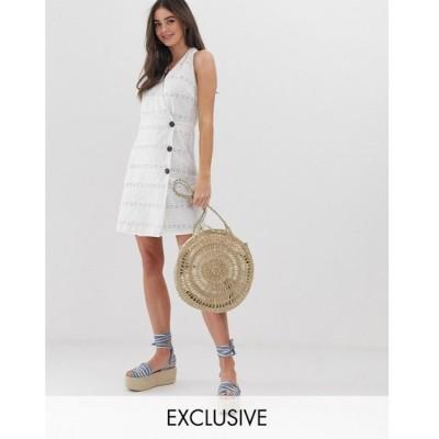 エイソス ASOS Tall レディース ワンピース ワンピース・ドレス ASOS DESIGN Tall palm broderie wrap halter mini sundress with side buttons White
