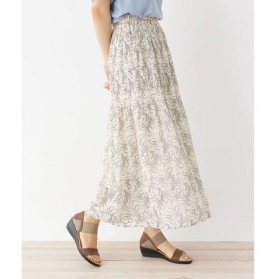 スカート 【M-LL】フラワーマジョリカ消しプリーツスカート