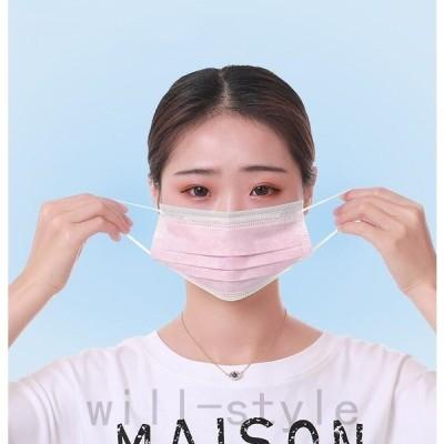 不織布マスク50枚3層構造不織布マスク使い捨てマスクウイルス花粉ハウスダスト風邪大掃除対策飛沫感染大人ブルーピンク