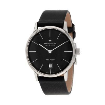 腕時計 ハミルトン Hamilton Intra-Matic ブラック ダイヤル レザー メンズ 腕時計 H38455731