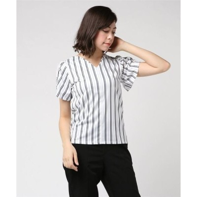 tシャツ Tシャツ エムエフエディトリアルレディース/m.f.editorial:Women 強撚ストライプ柄タック付Vネック半袖プルオーバーTシャツ