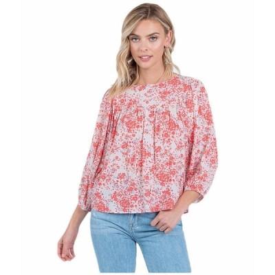 アメリカンローズ シャツ トップス レディース Frankie 3/4 Sleeve Floral Top Coral