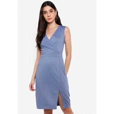 ザローラ ZALORA レディース パーティードレス Vネック スリットワンピース ワンピース・ドレス Overlap V-Neck Knit Dress with Slit Dusty Blue