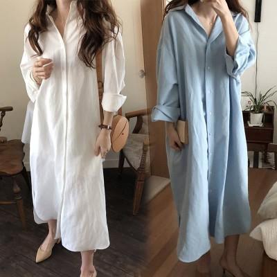 ロングシャツワンピース韓国プレミアムファッションフェミニンな雰囲気 最新トレンド勢揃い