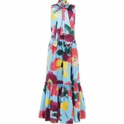 ラダブルジェー La DoubleJ レディース ワンピース ワンピース・ドレス Lou Lou floral-print pussy-bow cotton dress Blue
