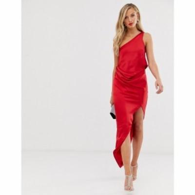エイソス ASOS DESIGN レディース ワンピース ワンピース・ドレス One Shoulder Drape Midi Dress In Satin レッド