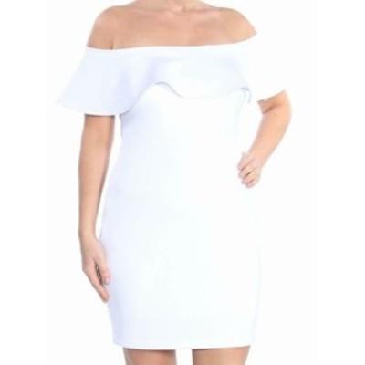 GUESS ゲス ファッション ドレス Guess NEW White Womens Small S Ruffle Trim Off Shoulder Sheath Dress