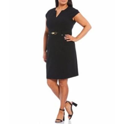 カルバンクライン レディース ワンピース トップス Plus Size Notch V-Neck Cap Sleeve Front Waist Detail Sheath Dress Black