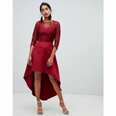 チチロンドン ワンピース lace 2 in 1 skater dress with high low hem in wine Burgundy