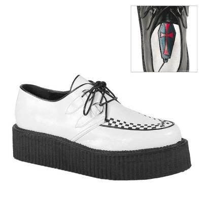 取寄せ靴 DEMONIA デモニア 厚底 シューズ 白 ホワイト ビーガンレザー 大きいサイズあり
