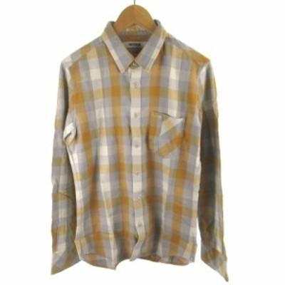 【中古】ファクトタム FACTOTUM シャツ 長袖 ブロックチェック柄 イエロー 黄色 グレー コットン レーヨン 46 トップス メンズ