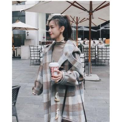 2020 秋冬新作 フード付き ウールコート チェック柄 格子柄 ジャケット アウター ホワイト S M L XL ゆったり 大きいサイズ 大人フェミニン シンプル 可愛い