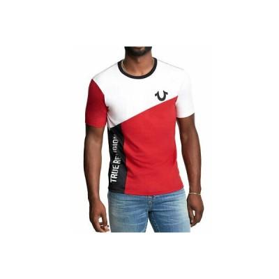 メンズファッション トゥルーレリジョン メンズ True Religion Brand Jeans Men's Color Blocked Logo Crew Tee Shirt Top - 101873