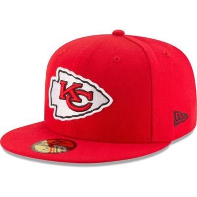 ニューエラ メンズ 帽子 アクセサリー New Era Men's Kansas City Chiefs Red 59Fifity Logo Adjustable Hat