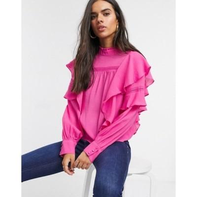 ヴェロモーダ レディース シャツ トップス Vero Moda blouse with high neck and ruffle trim in pink