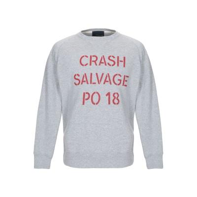 プラスピープル (+) PEOPLE スウェットシャツ グレー S コットン 100% スウェットシャツ