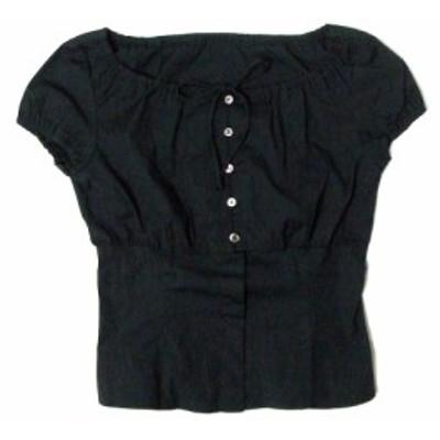 美品 ANNE KLEIN アンクライン リボンカットソー (黒 AK2 Tシャツ) 104574【中古】