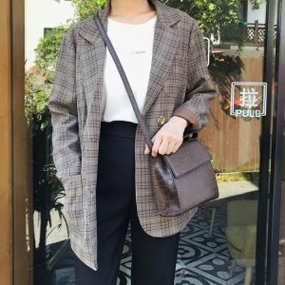 テーラードジャケット チェック ジャケット 春服 レディース 韓国 ファッション レディース チェック柄 ブラウン ジャケット 英国風 チェ