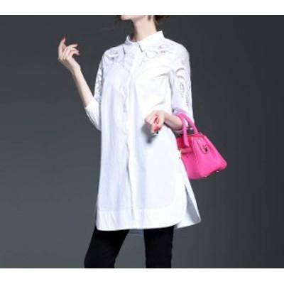 七分袖 春秋 単色 チェニック レース シャツ シック きれいな刺繍☆ きれいめ ロング丈 セクシー ワンピース シャツワンピ