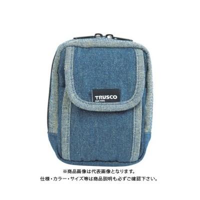 TRUSCO デニム携帯電話用ケース 2ポケット ブルー TDC-H101