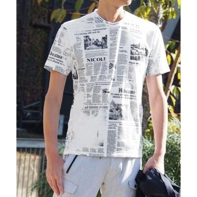tシャツ Tシャツ ニュースペーパープリントTシャツ