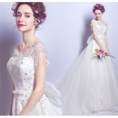 結婚式ワンピース お嫁さん 豪華な ウェディングドレス 丸襟 蝶結び付き 刺繍 透け感チュール ロング丈ワンピ-ス 花嫁 ドレス
