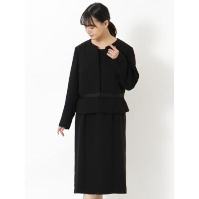 【大きいサイズ】ピコレース使いブラックフォーマルスーツ 大きいサイズ スーツ レディース