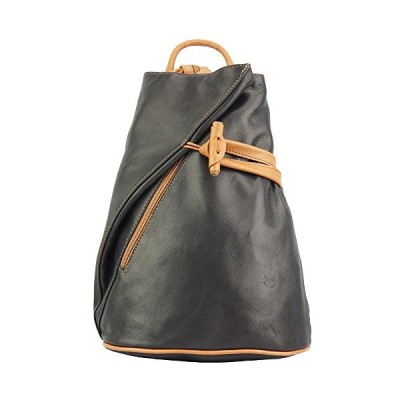 BACKPACK PURSE AND SHOULDER BAG FIORELLA WITH MANY POCKETS IN GENUINE LEATHER 2062 (Black-tan) 並行輸入品