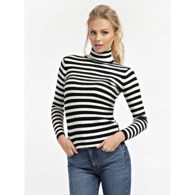ゲス GUESS Estela Turtle Neck Sweater (BLACK AND WHITE STRIPES)