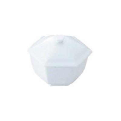 白磁 六角蓋物 小  カンダ 幅103×奥行103×高さ83(mm)/業務用/新品