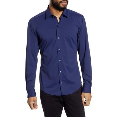 ヒューゴ ボス BOSS メンズ シャツ トップス Robbie Regular Fit Button-Up Performance Shirt Navy