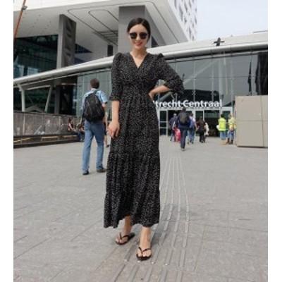 韓国 ファッション レディース ワンピース ドット柄 ロング ウエストゴム Vネック フレア シフォン レトロ 五分袖 ゆったり 大人可愛い